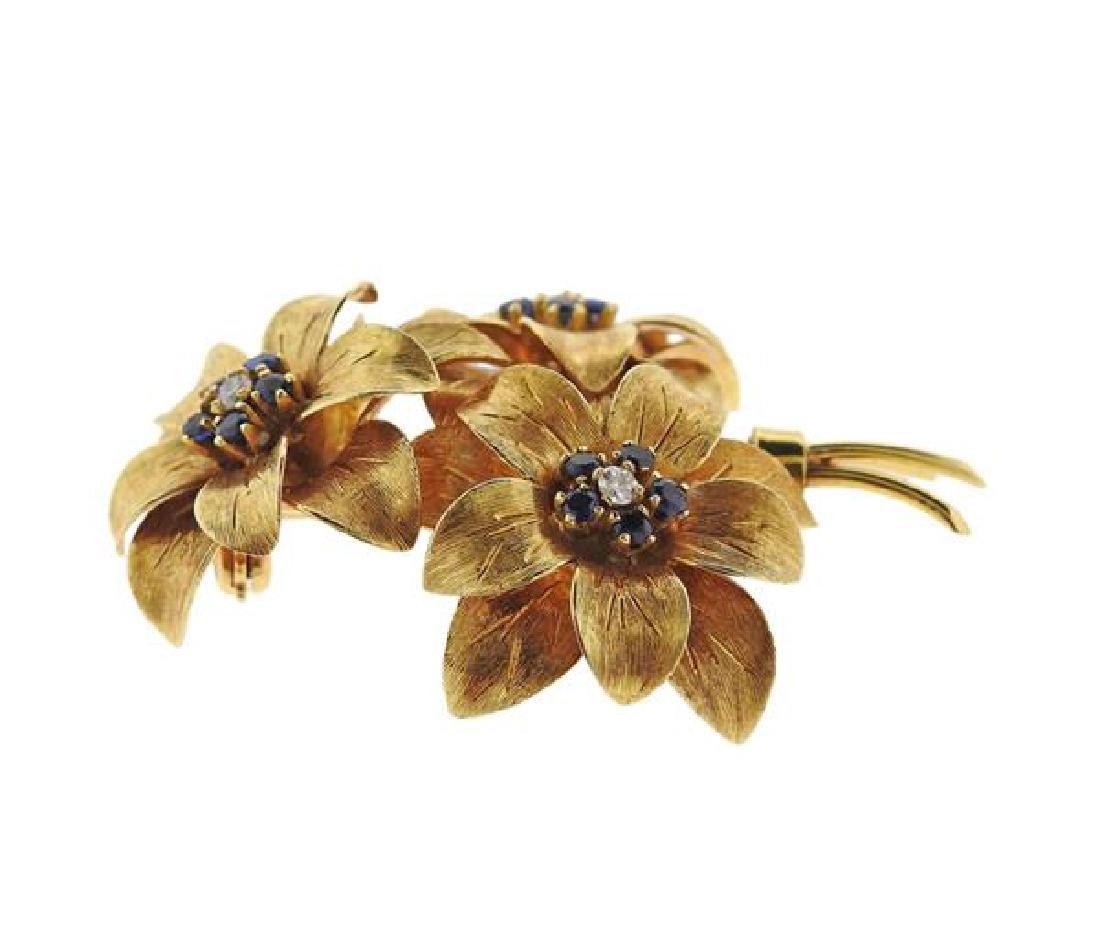 Tiffany & Co 18k Gold Diamond Sapphire Bouquet - 2