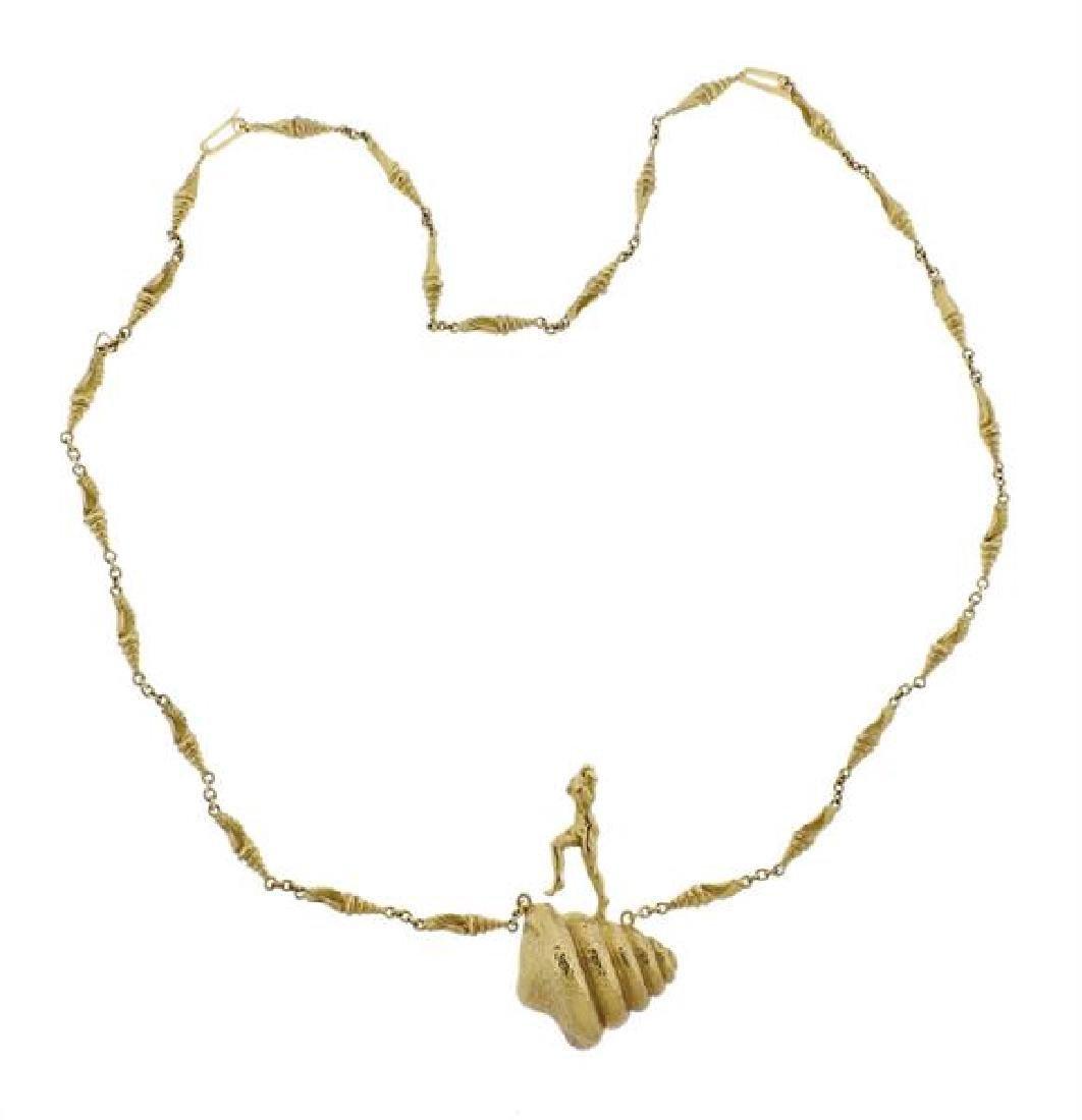 Salvador Dali  18l Gold Mujer Desnuda Subiendo Necklace