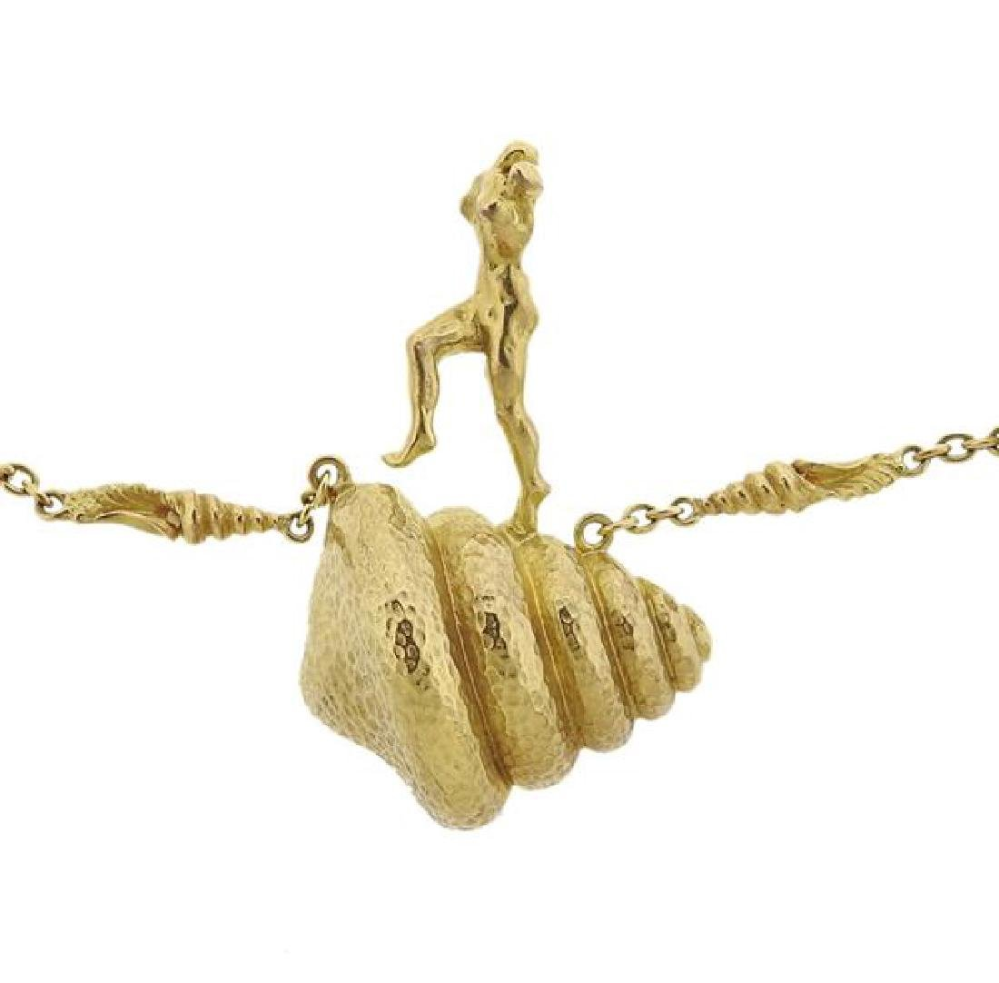 Salvador Dali  18l Gold Mujer Desnuda Subiendo Necklace - 2