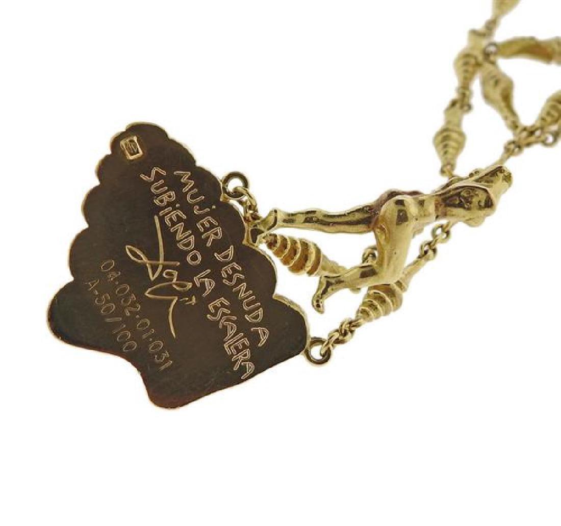 Salvador Dali  18l Gold Mujer Desnuda Subiendo Necklace - 4