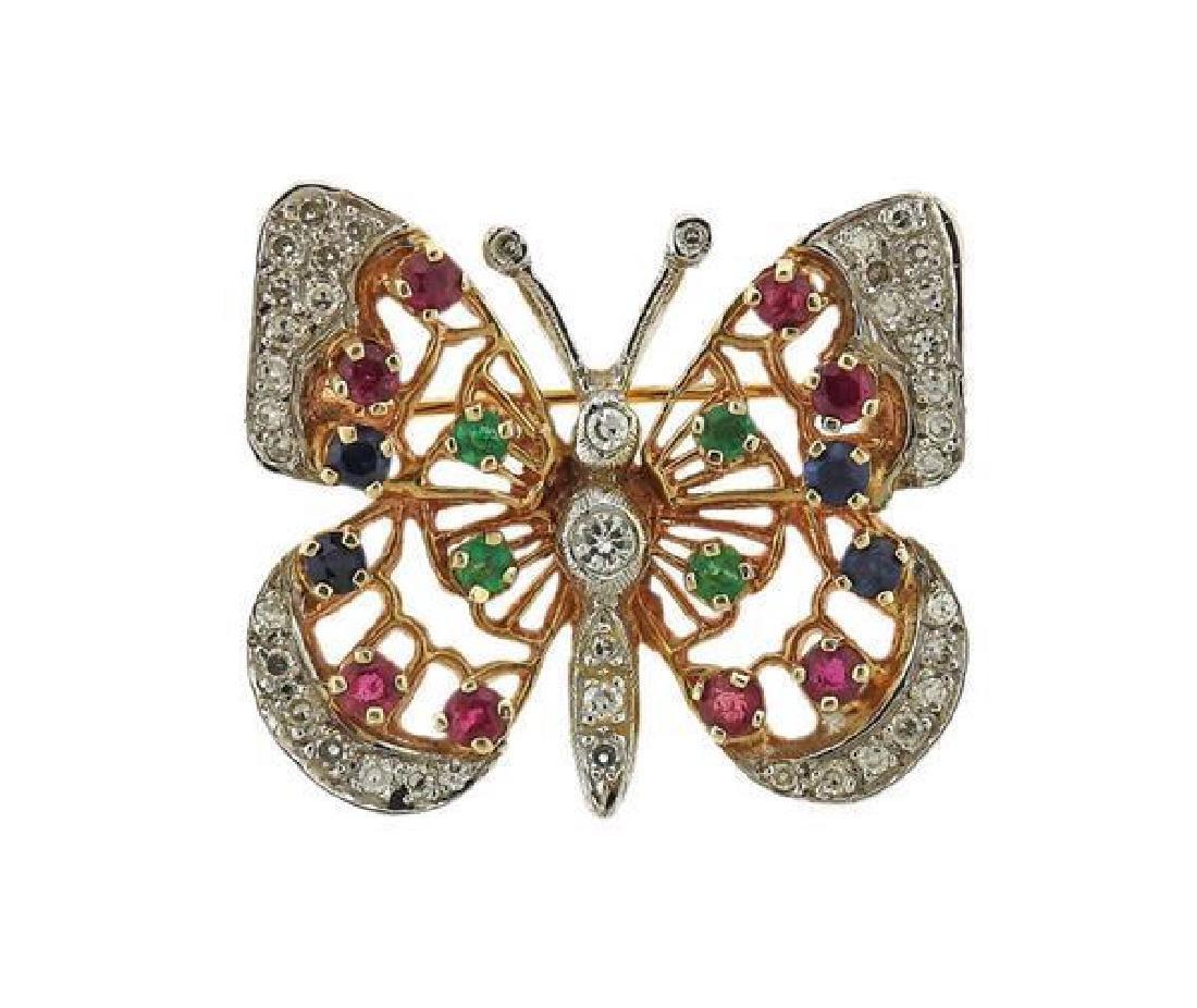 14K Gold Diamond Color Stone Butterfly Brooch Pin