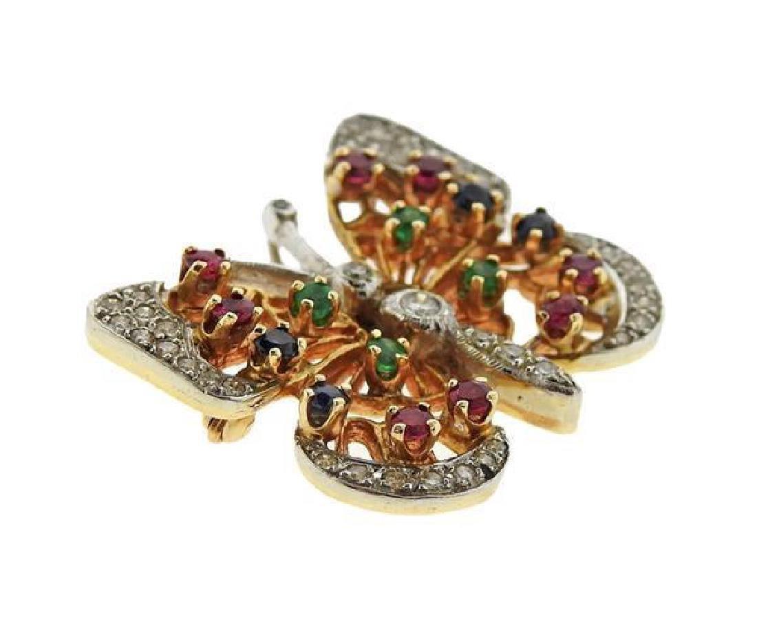 14K Gold Diamond Color Stone Butterfly Brooch Pin - 2