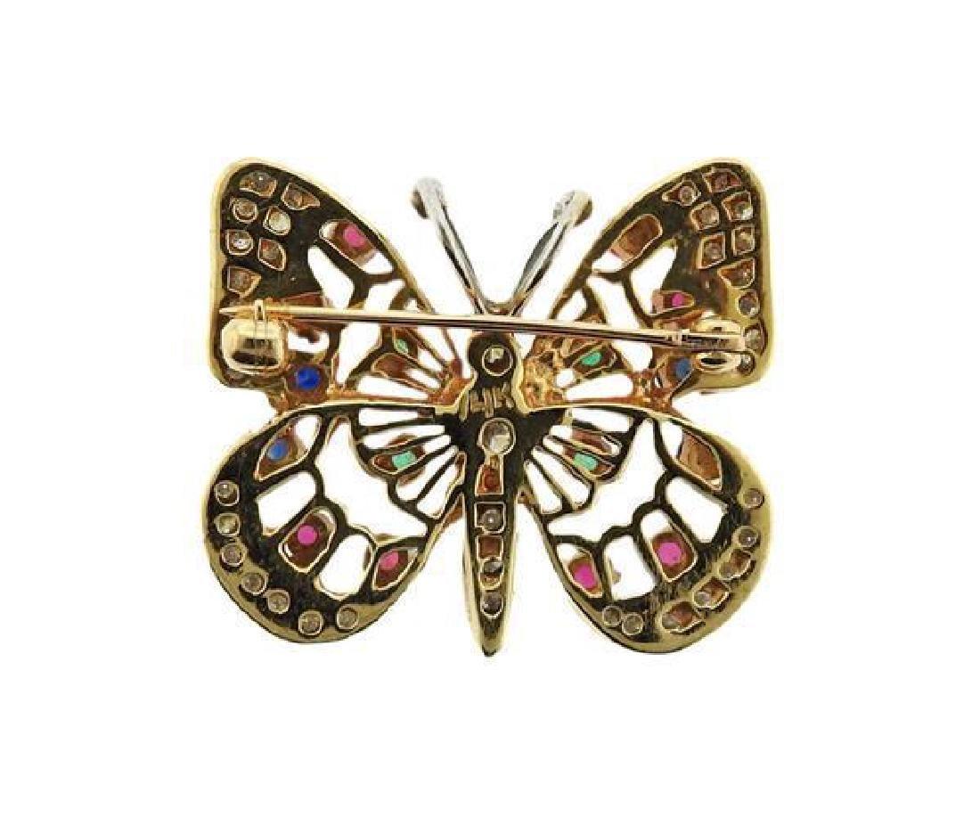 14K Gold Diamond Color Stone Butterfly Brooch Pin - 3