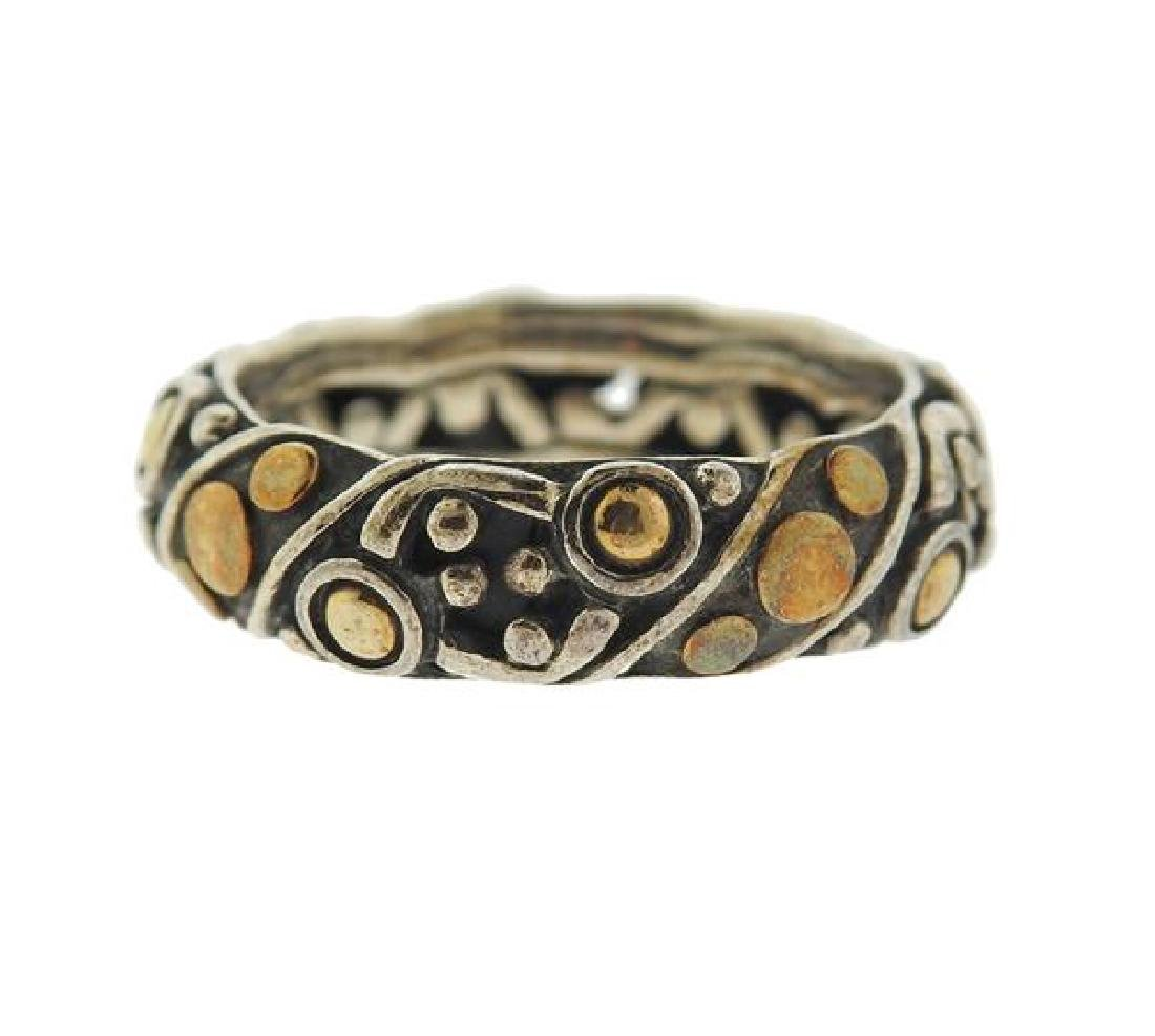 John Hardy Dots 18k Gold Silver Band Ring - 3