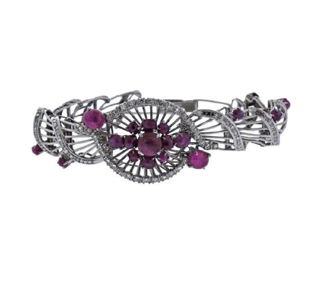 1950s Star Ruby Diamond Silver Bracelet
