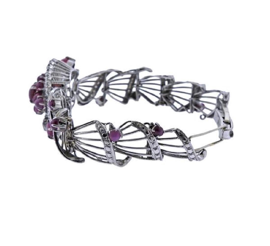 1950s Star Ruby Diamond Silver Bracelet - 2