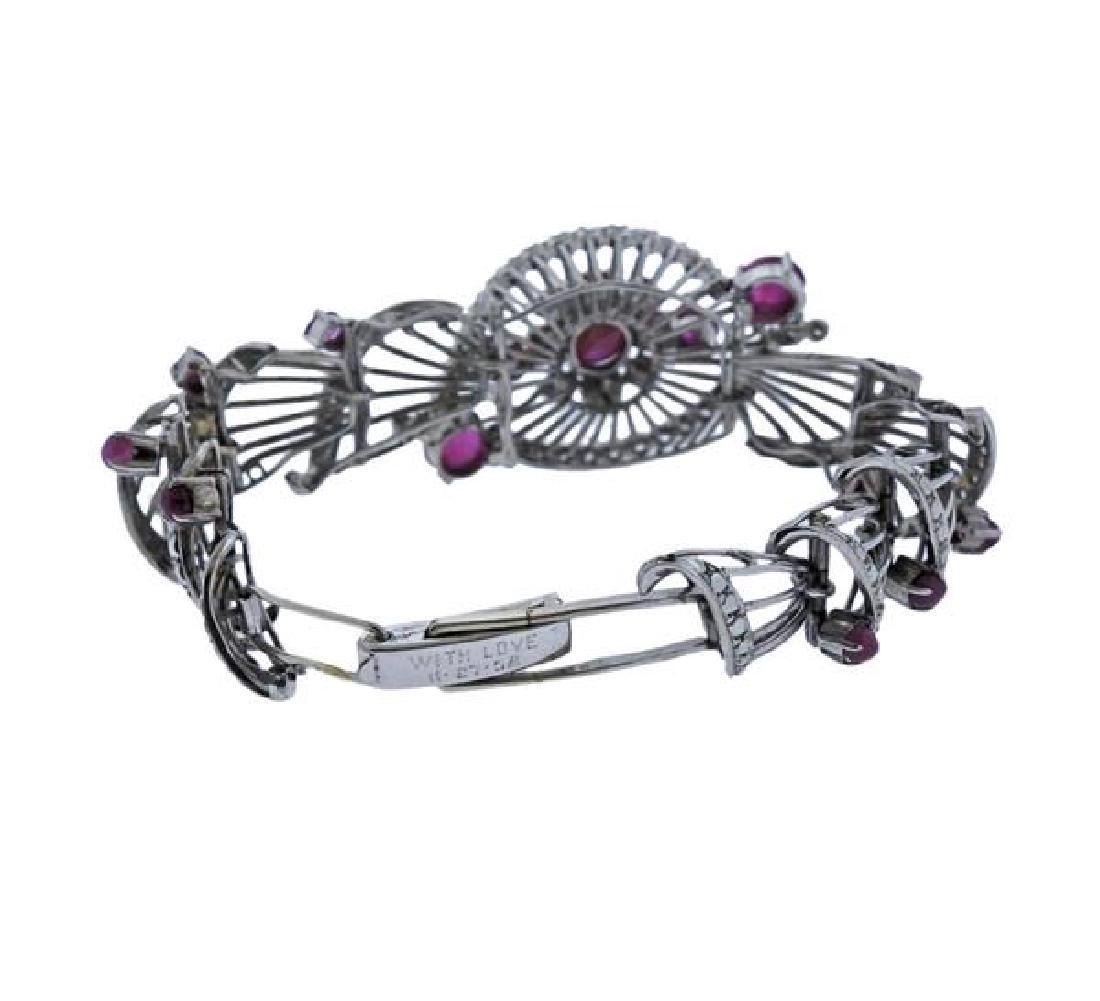 1950s Star Ruby Diamond Silver Bracelet - 3
