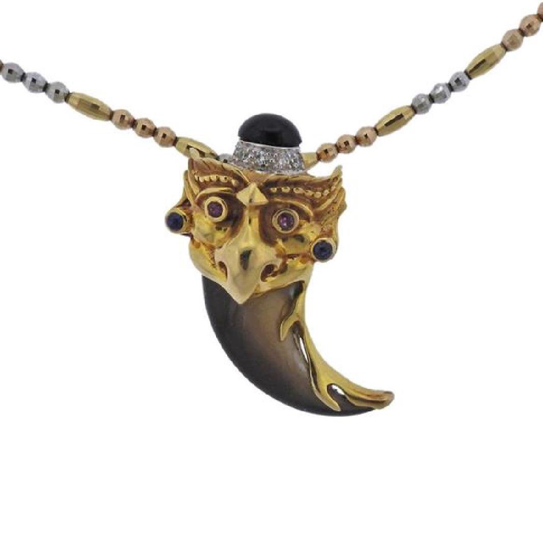 18K Gold Multi Gemstone Pendant Necklace - 2