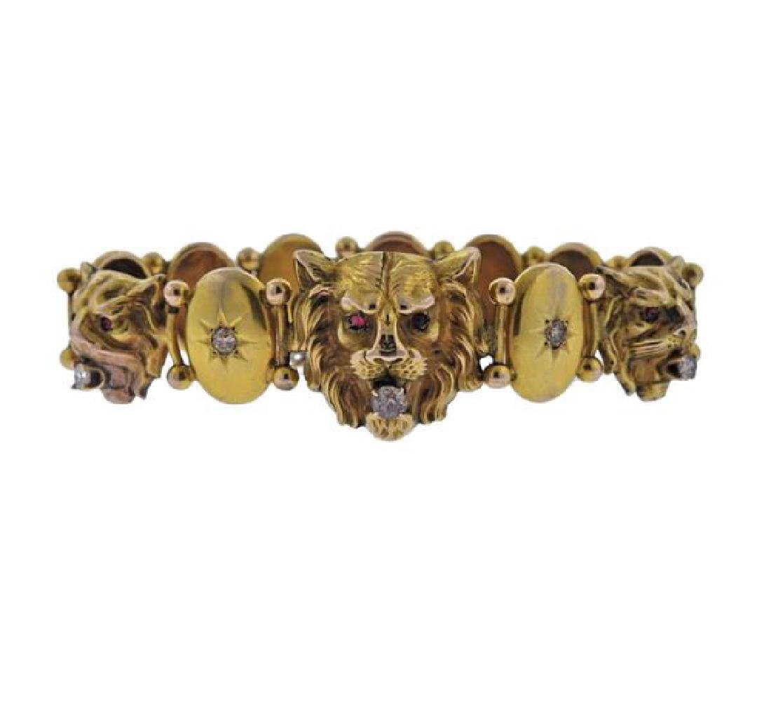 Antique 10k Gold Diamond Lion Bracelet