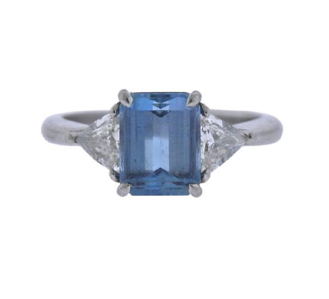 Tiffany & Co Platinum Diamond 2ct Aquamarine Ring