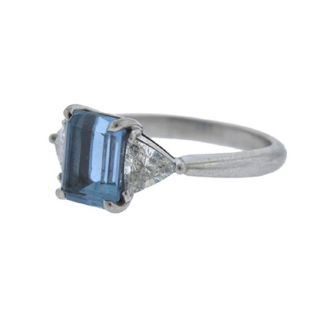 Tiffany & Co Platinum Diamond 2ct Aquamarine Ring - 2