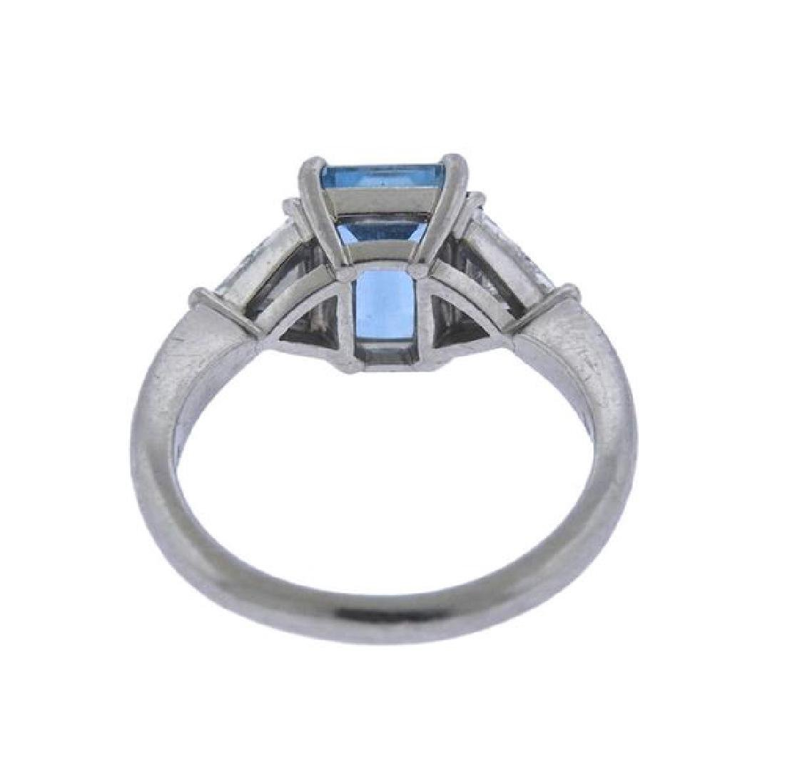 Tiffany & Co Platinum Diamond 2ct Aquamarine Ring - 3