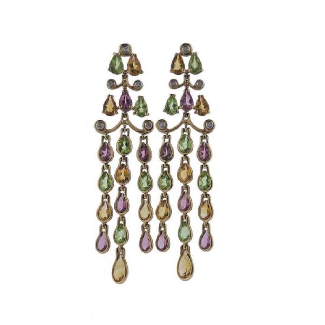 14k Gold Diamond Gemstone Chandelier Earrings