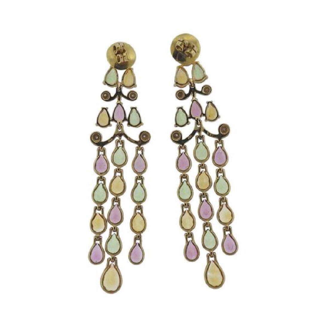 14k Gold Diamond Gemstone Chandelier Earrings - 2