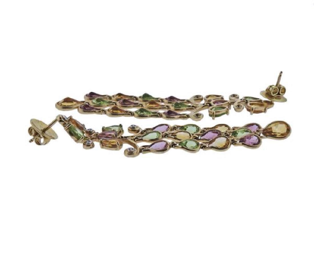 14k Gold Diamond Gemstone Chandelier Earrings - 3