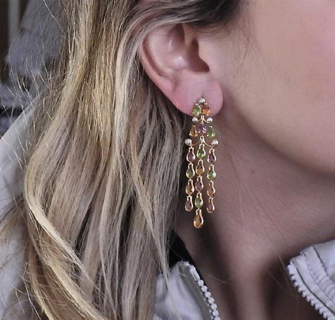 14k Gold Diamond Gemstone Chandelier Earrings - 4