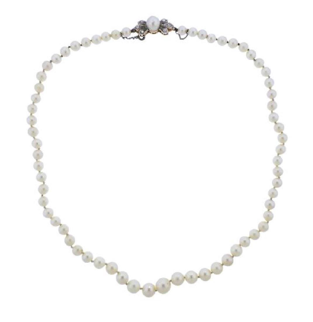 18k Gold Silver Diamond Pearl Necklace