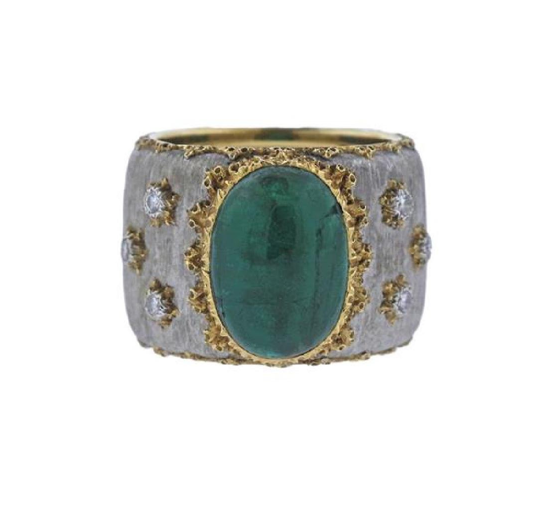 Buccellati 18k Gold Emerald Diamond Band Ring
