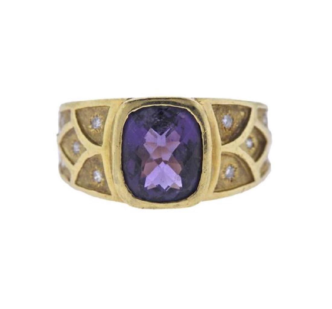 18K Gold Amethyst Diamond Ring