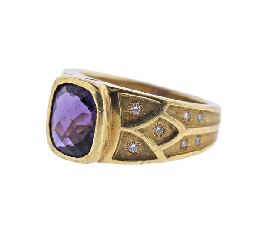 18K Gold Amethyst Diamond Ring - 2