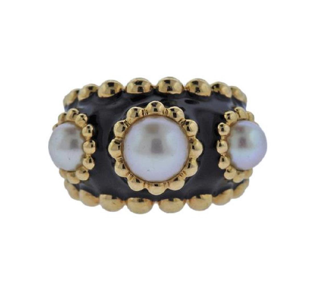 Chanel 18k Gold Pearl Black Enamel Ring