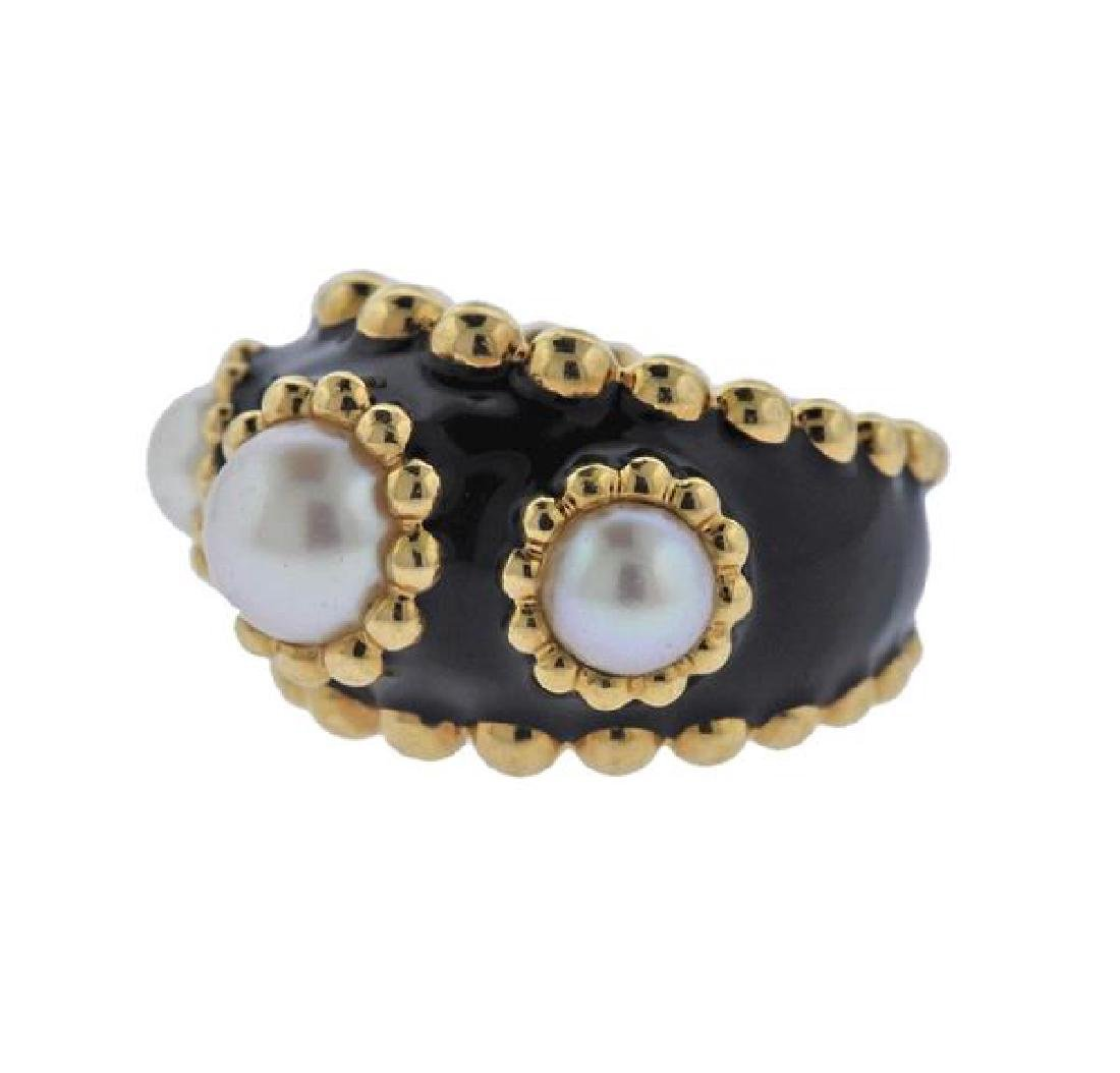 Chanel 18k Gold Pearl Black Enamel Ring - 2