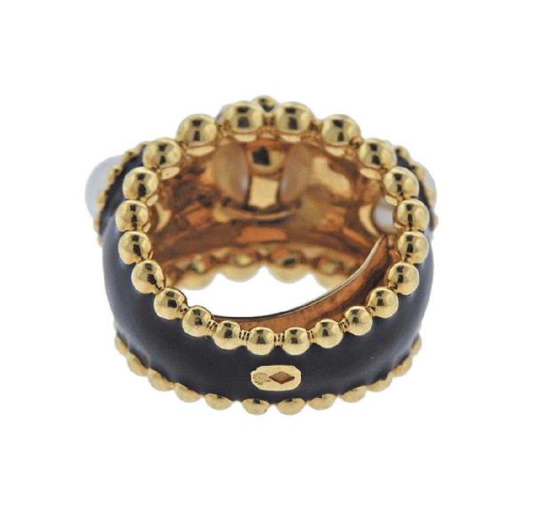 Chanel 18k Gold Pearl Black Enamel Ring - 3