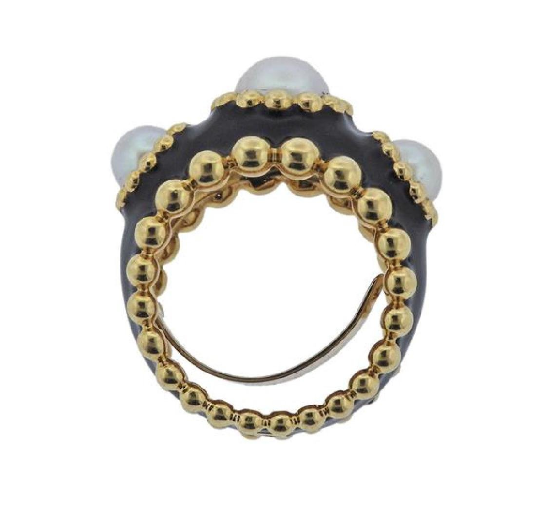 Chanel 18k Gold Pearl Black Enamel Ring - 4