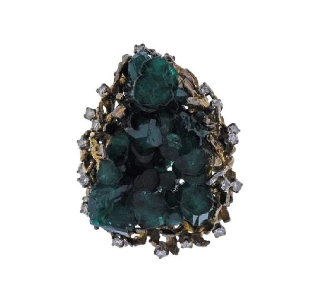 1970s 18k Gold Chatham Emerald Diamond  Ring