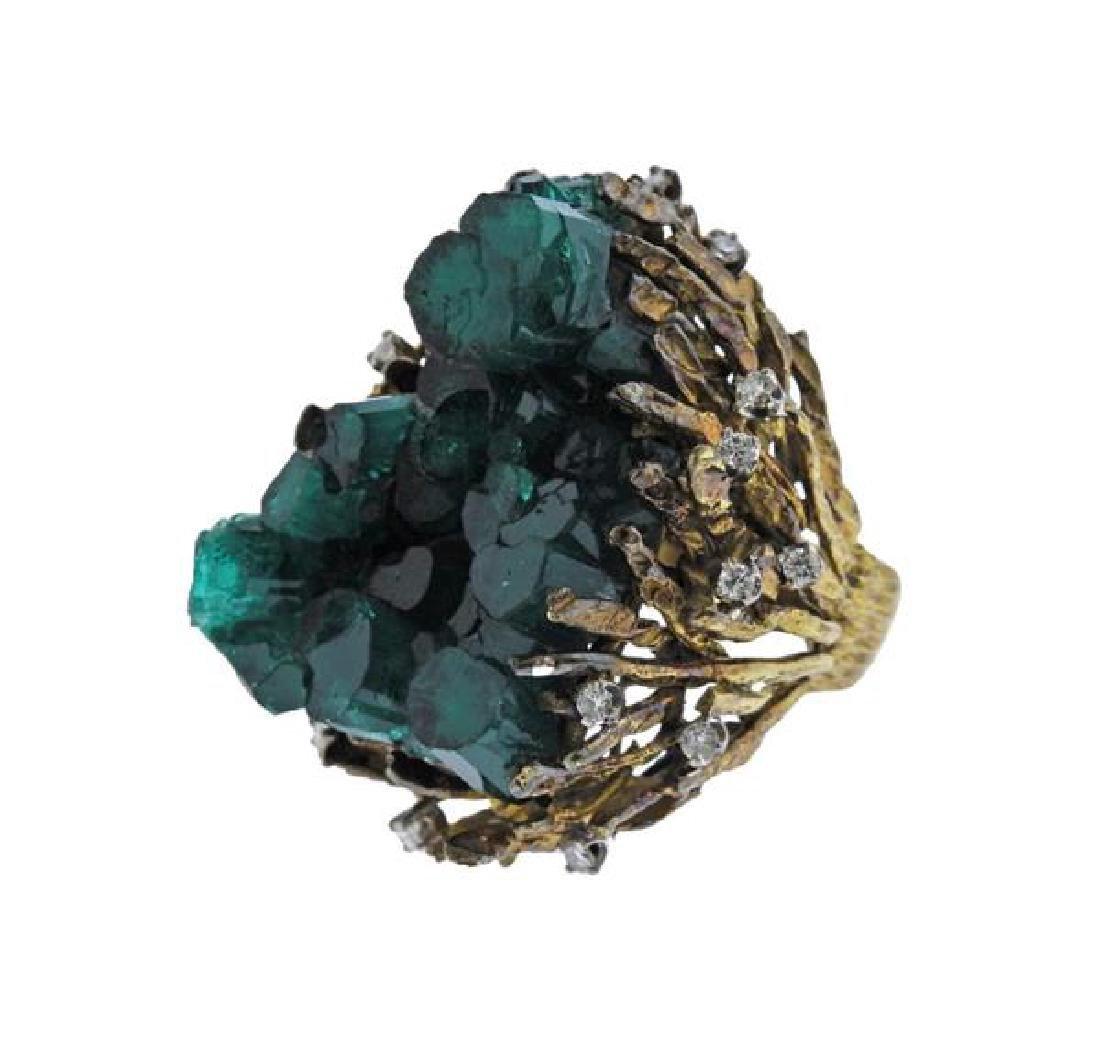 1970s 18k Gold Chatham Emerald Diamond  Ring - 2