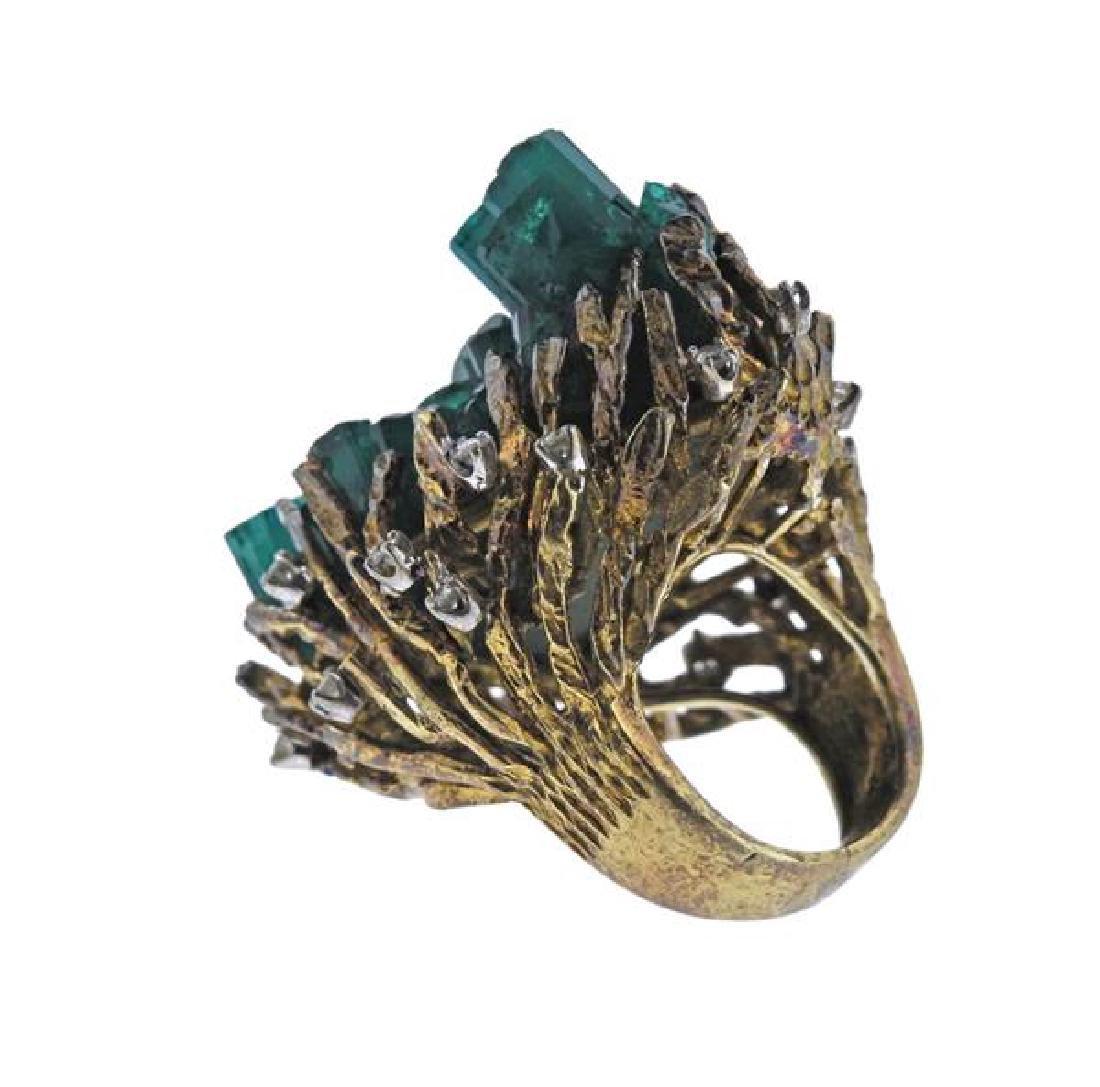 1970s 18k Gold Chatham Emerald Diamond  Ring - 3
