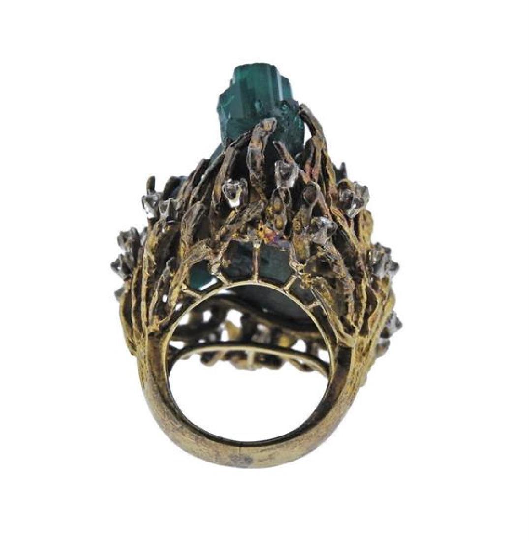 1970s 18k Gold Chatham Emerald Diamond  Ring - 4