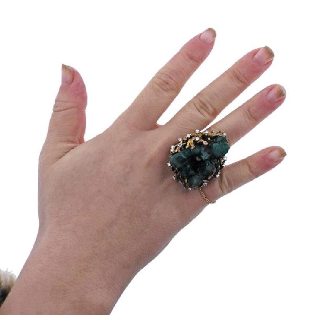 1970s 18k Gold Chatham Emerald Diamond  Ring - 5