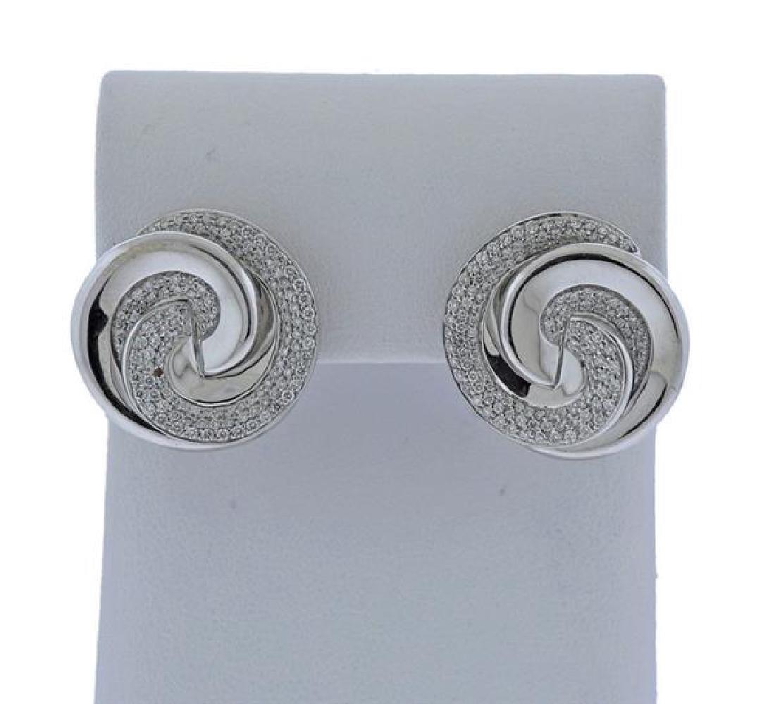 Roberto Coin 18k Gold Diamond Swirl Earrings