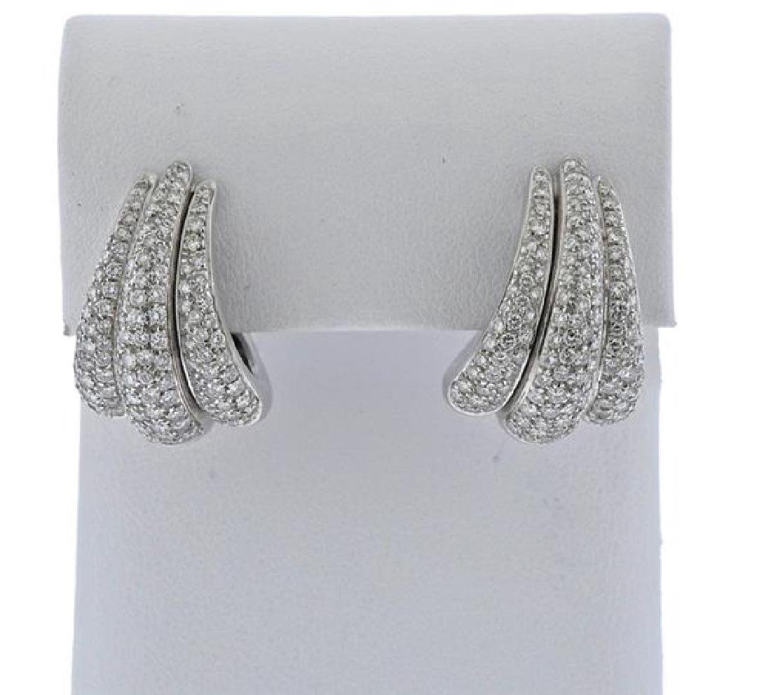 Damiani 18k Gold Diamond Half Hoop Earrings