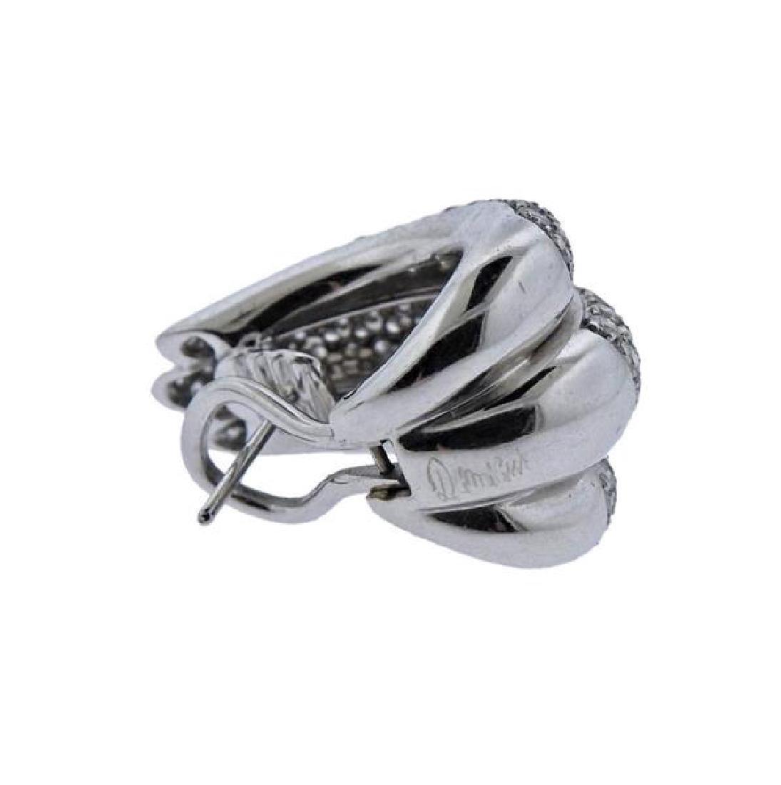Damiani 18k Gold Diamond Half Hoop Earrings - 4