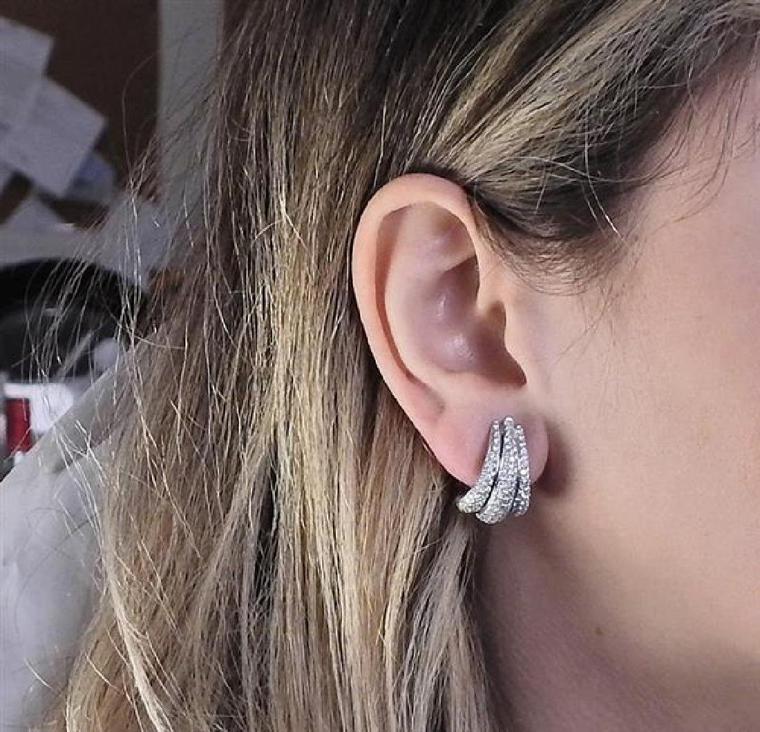 Damiani 18k Gold Diamond Half Hoop Earrings - 5