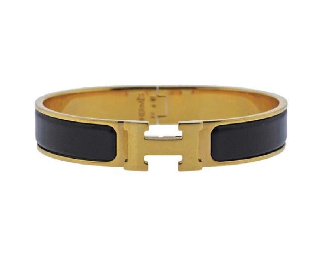 Hermes Black Enamel Metal Bangle Bracelet