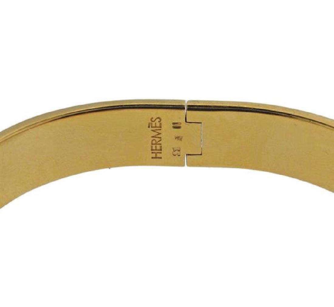 Hermes Black Enamel Metal Bangle Bracelet - 2