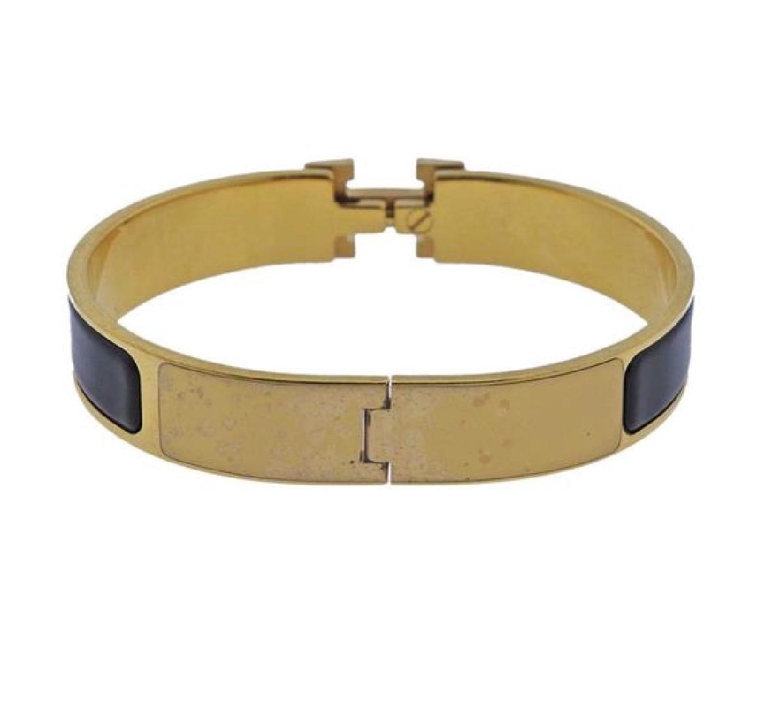 Hermes Black Enamel Metal Bangle Bracelet - 3