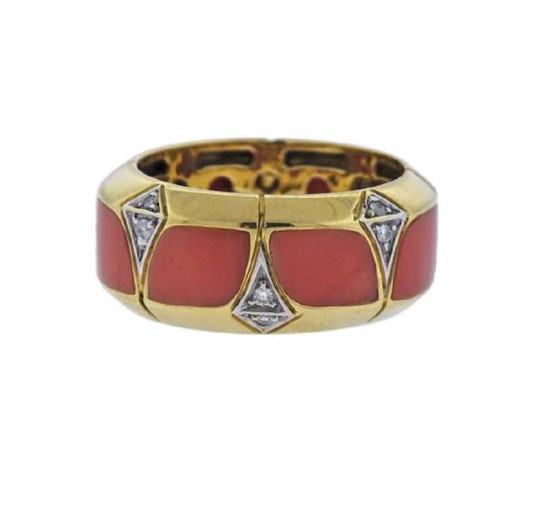 18K Gold Coral Diamond Band Ring