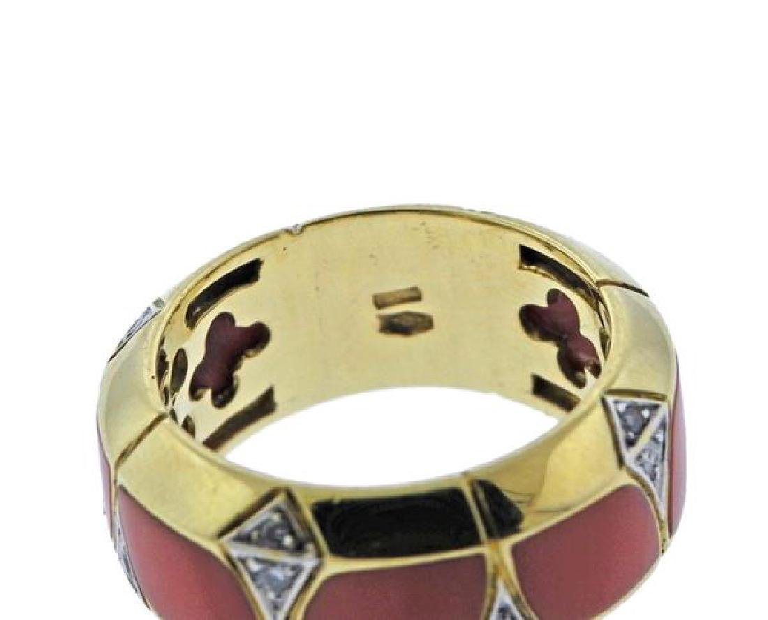 18K Gold Coral Diamond Band Ring - 2