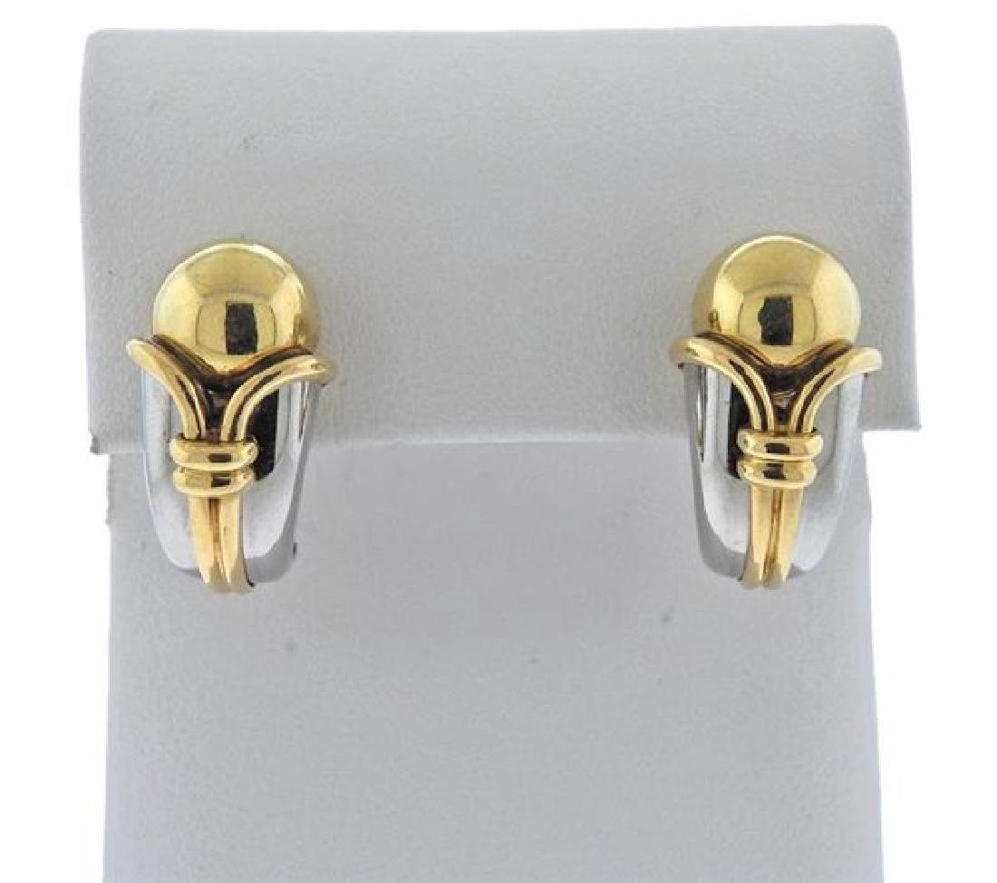 Bulgari Bvlgari 18K Gold Stainless Steel Earrings