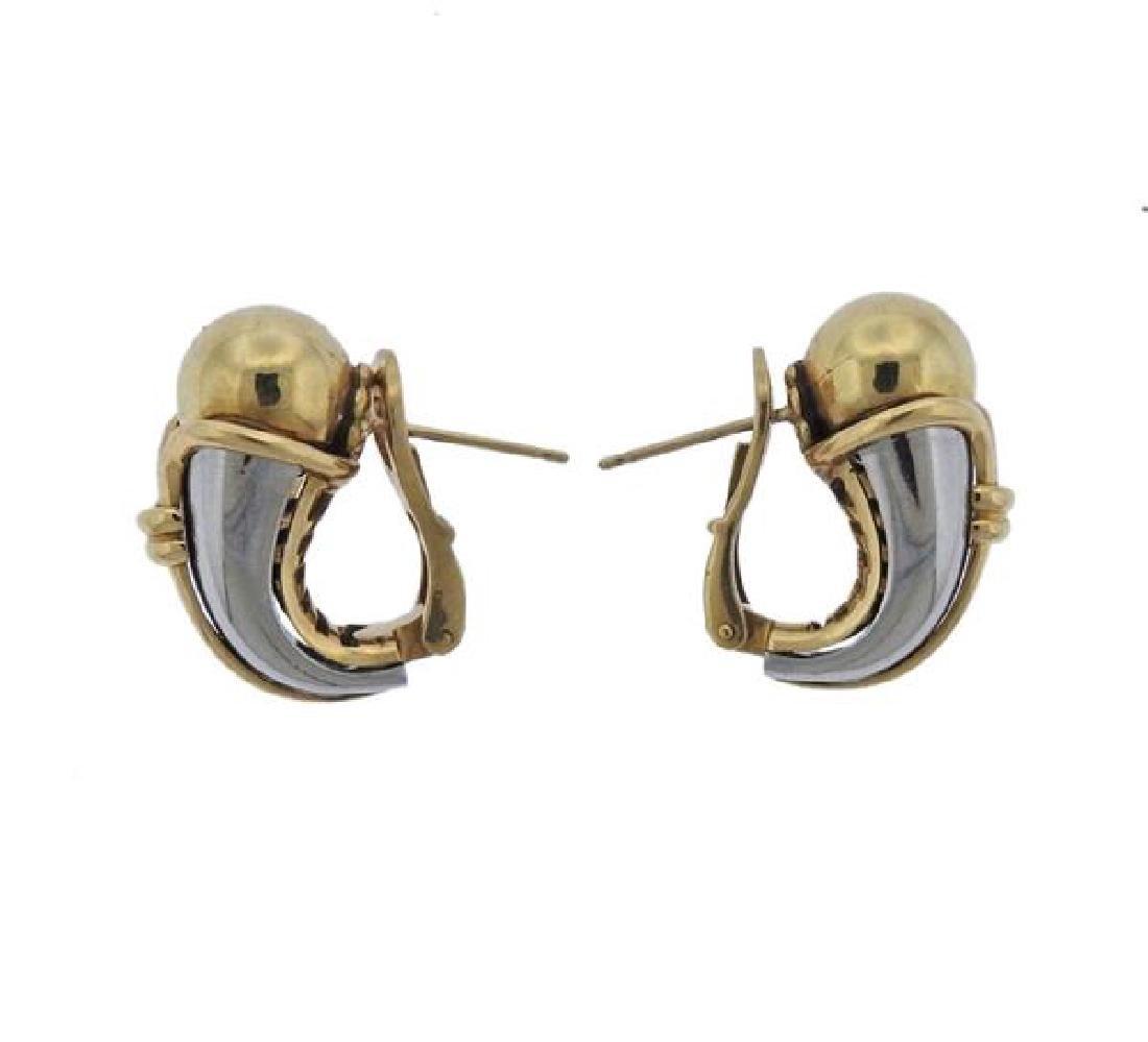 Bulgari Bvlgari 18K Gold Stainless Steel Earrings - 2