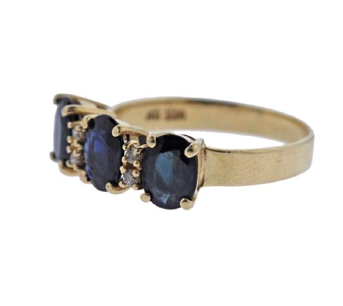 14K Gold Sapphire Diamond Ring - 2