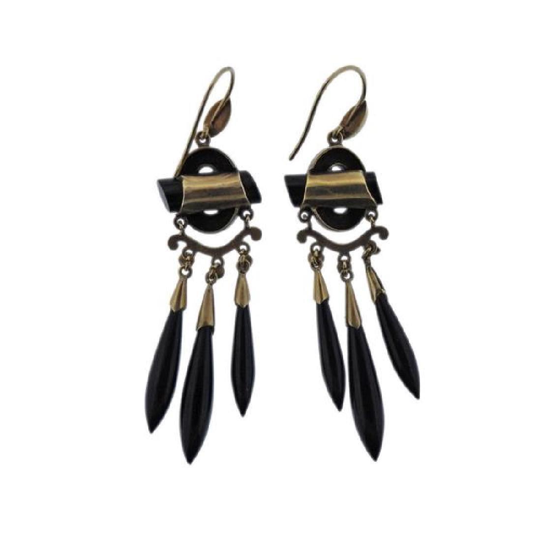 Antique Victorian 14K Gold Black Gemstone Earrings - 2