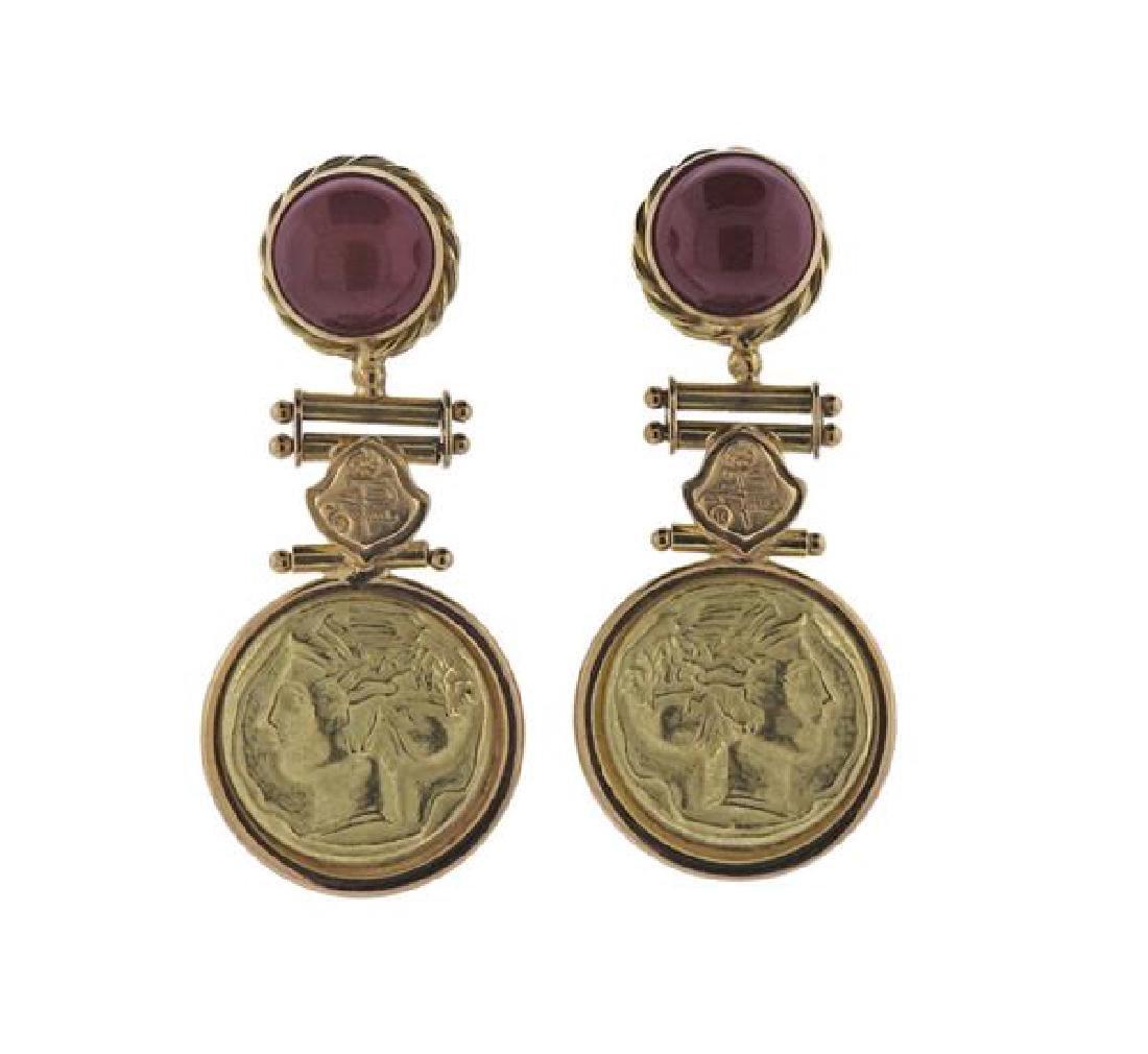 Italian 18K Gold Orange Gemstones Earrings