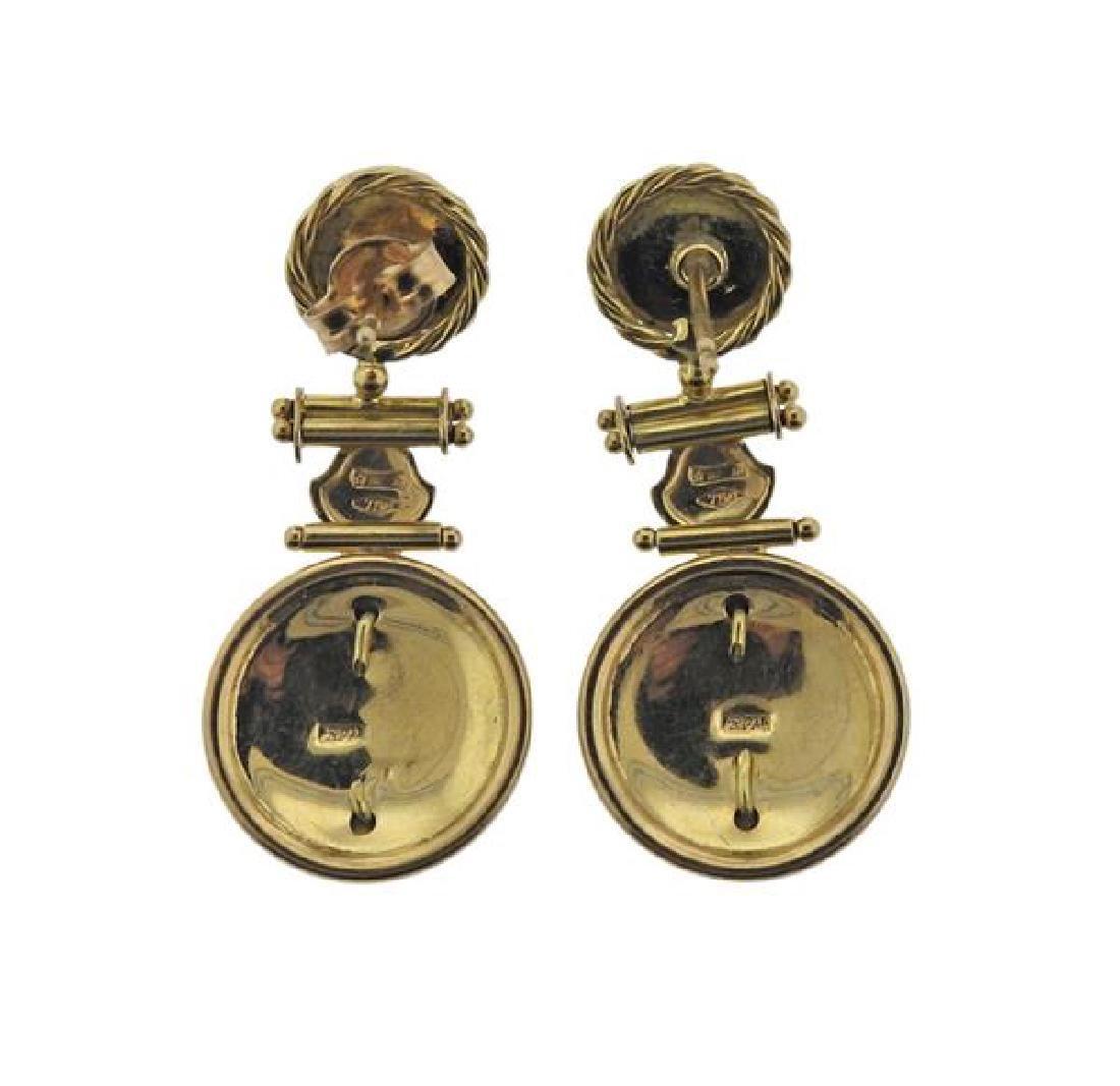 Italian 18K Gold Orange Gemstones Earrings - 2