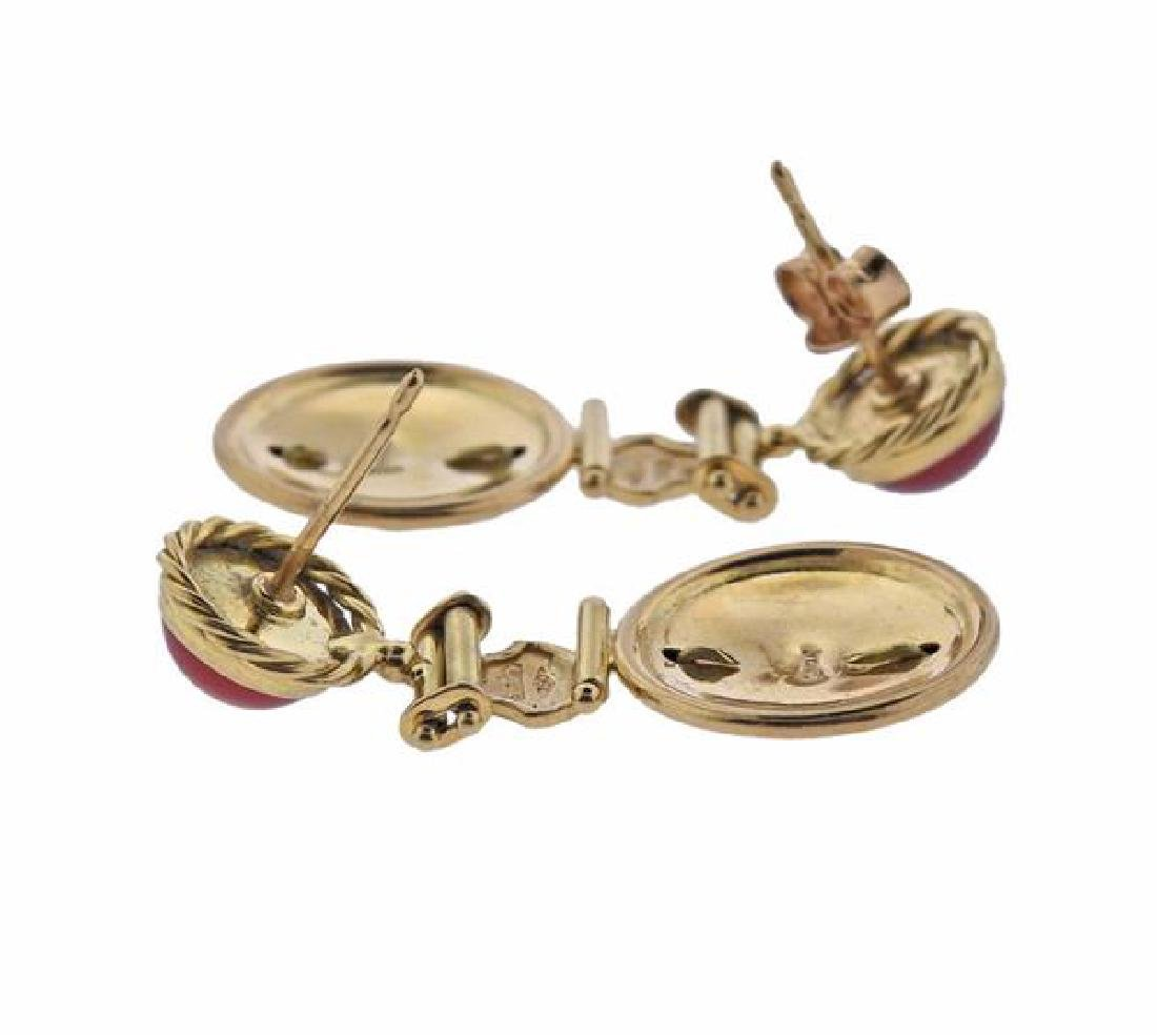 Italian 18K Gold Orange Gemstones Earrings - 3