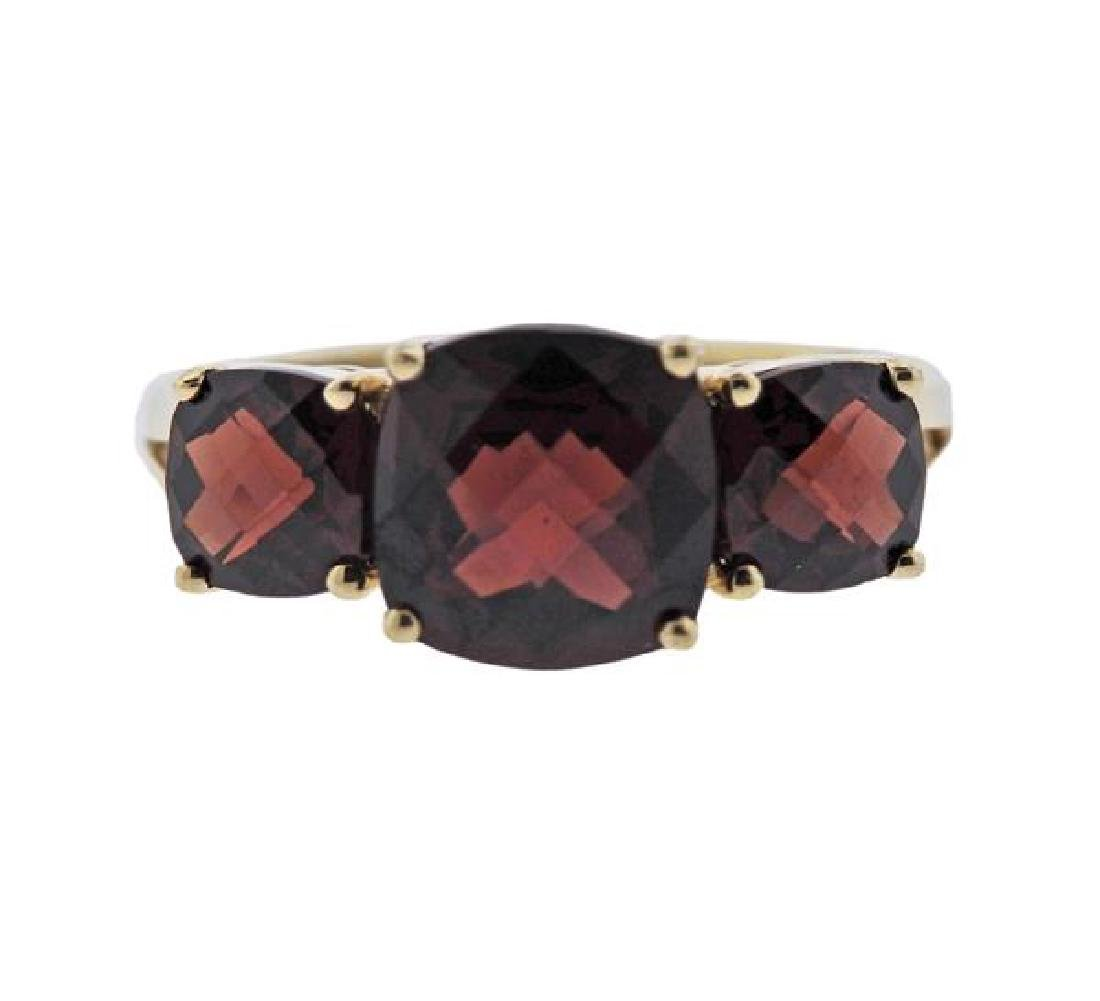 14K Gold Red Gemstone Ring